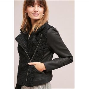 Anthropologie Greylin Black Sherpa Moto Jacket XS